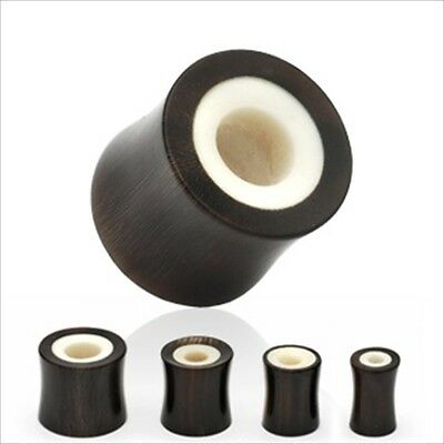 Bone Inlay Body Jewelry Tunnels - 1 PAIR Ear Plugs Buffalo Horn Bone Inlay Double Flare Saddle Organic Tunnels