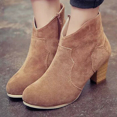Women Short Cylinder Boots High Heels Boots Shoes Martin Boots Ankle Boots New 7