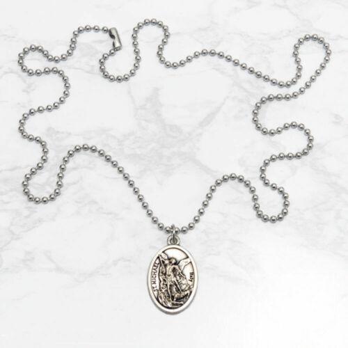 "Patron Saint St Michael The Archangel 1"" Medal Pendant Necklace 24"" Chain Italy"