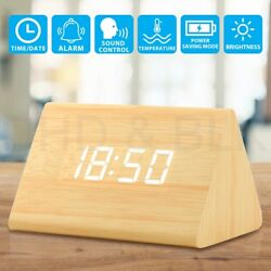 Modern Wooden Wood Digital LED Desk Alarm Clock Thermometer Time Date Gift US RF