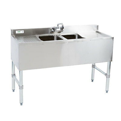 48 2-compartment Stainless Steel Underbar Bar Sink W Faucet Two Drainboards