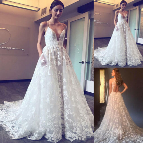 Lace Spaghetti Straps Beach Wedding Dresses Deep V neck Applique Bridal Gowns