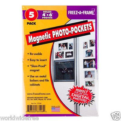 6 x Freez-A-Frame 4 x 6 Magnetic Photo Pockets 5-pack -Bulk