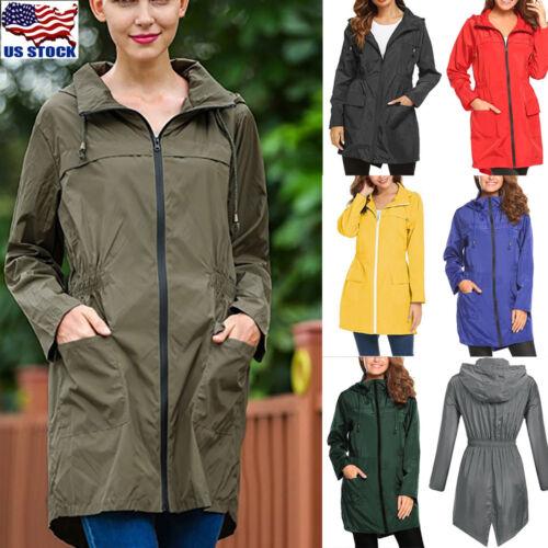 Womens Waterproof Jacket Trench Coat Slim Long Raincoat For
