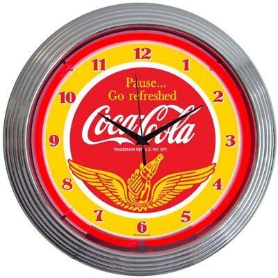 COCA-COLA SODA NEON CLOCK *Gas & Oil / COCA COLA ADS / COCA COLA NEON CLOCK