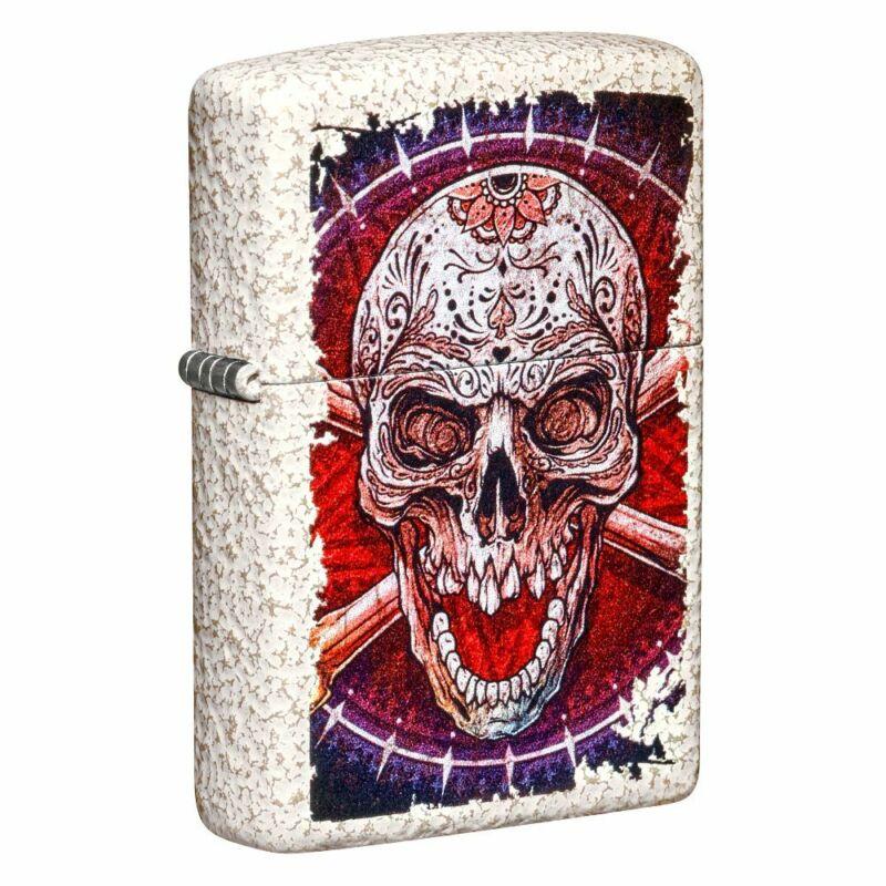 Zippo Sugar Skull Design Mercury Glass Pocket Lighter, 49410