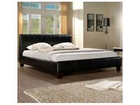 Fast Delivery-Brand new Kingsize Leather Bed with Full Orthopaedic Mattress-Cash on Delivery