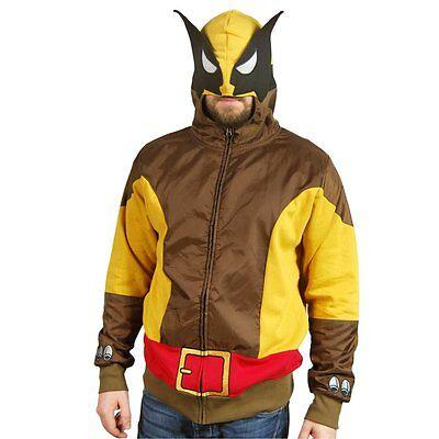 Mens Licensed Marvel Comics Brown Wolf Wolverine Costume Hoodie NEW - Marvel Beast Costume