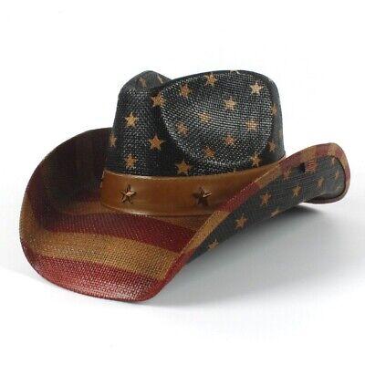 American Flag Cowboy Hat US Straw Hat Retro Fedora Men Western Fashion Summer