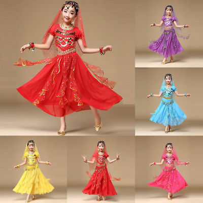 Kids Girl Indian Dance Dresses Belly Dance Halloween Costume Outfits Clothes - Halloween Dance Clothes