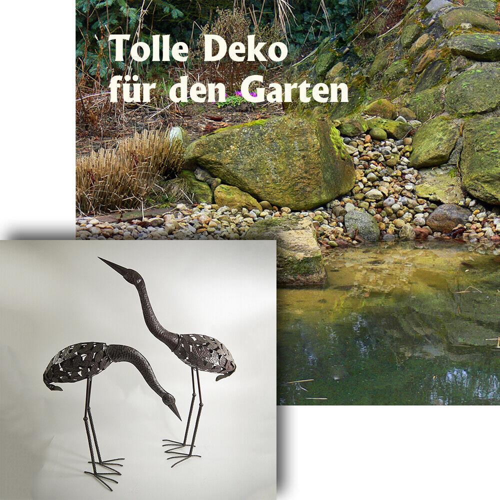 2 x Kraniche im Set für Ihren Garten Deko-Vogel-Figuren aus Metal Gartendeko