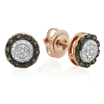 Gold Champagne Diamond Earrings - 0.25 CT 10K Rose Gold Round Champagne & White Diamond Cluster Stud Earrings