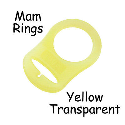 Yellow Transparent Ring - 25 Yellow Transparent Silicone MAM Ring Button Style Dummy Pacifier Clip Adapter