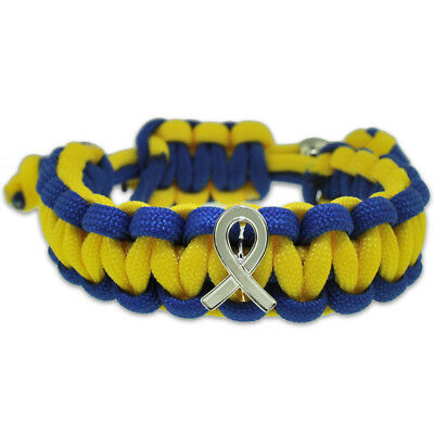 Down Syndrome Blue and Yellow w/ Awareness Ribbon Paracord Adjustable - Blue And Yellow Ribbon