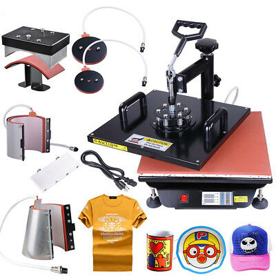 15x15 6in1 Digital Transfer Heat Press Machine Sublimation T-Shirt Mug Plate Hat