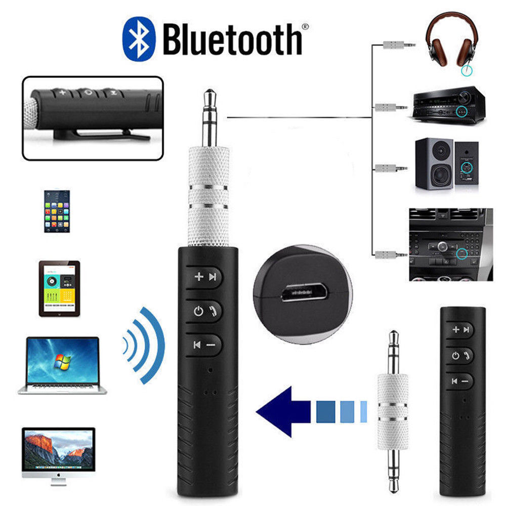 Wireless Bluetooth AUX 3.5mm Jack Stereo Music Home Car Audi