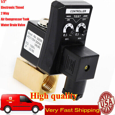 12 Automatic Electronic Timed 2 Way Air Compressor Tank Water Drain Valve 110v