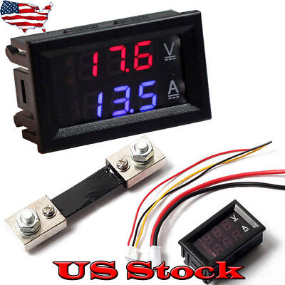 Blue Red Led Dc 100v10a Voltmeter Ammeter Amp Dual Digital Voltage Meter Gauge
