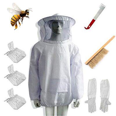 Beekeeping Suit Bee Honey Keeping Equipment Gloves Hive Brush Hook Veil Set