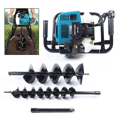 52cc Gas Power Earth Auger Post Fence Hole Digger W 4 8 Double Spiral Drills
