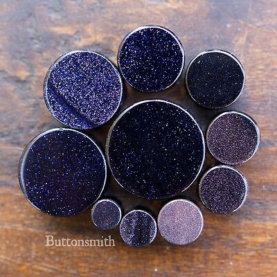 Goldstone Plugs - Pair of Blue Goldstone - Sandstone Stone Plugs Double Flared  8g to 1