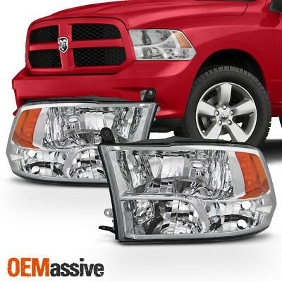 Fits 2009-2018 Dodge Ram 1500 2010-2018 2500 3500 Quad Style Headlights Lamps
