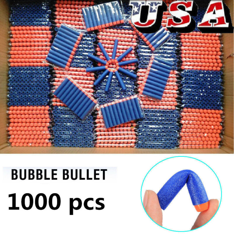 1000Pcs Foam Refill Bullet Darts for Nerf Elite Series Blasters Kids Gun Toy Fun