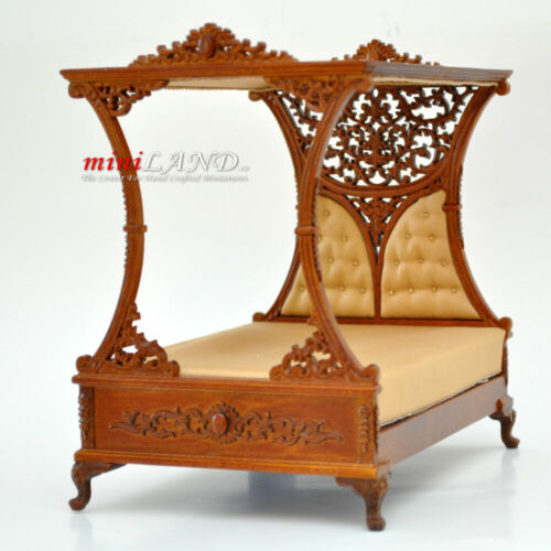 Regal beautiful  Luxurious Canopy Bed For DollHouse 1:12 Scale Miniature