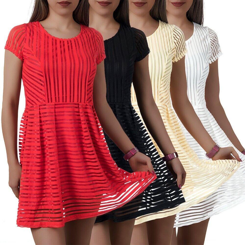 Damen Kleid Kleider Cocktailkleid Sommerkleid Abendkleid Ballkleid Chiffon L021