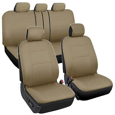 Beige Tan Car Seat Covers for Auto Front Rear Bench Headrests Solid (Solid Bench Seat Covers)
