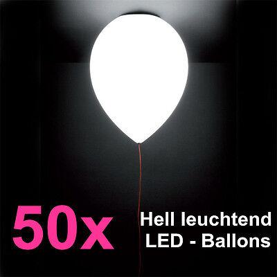 50x LED Weiß Ballons für Hochzeit Party Kind Geburtstag Weihnachten Luftballons