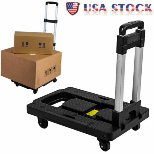 Portable Luggage Cart w/150Lb Capacity Aluminum Hand Truck and Dolly 4 Wheels