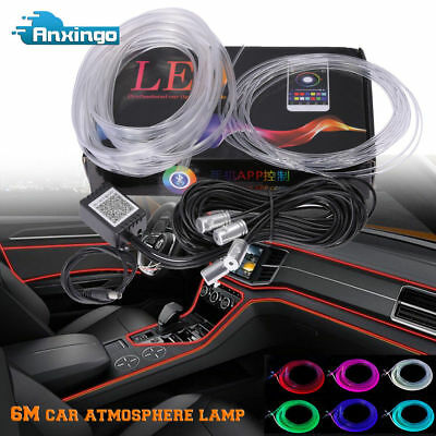 6M RGB LED Car Interior Neon EL Strip Light Sound Active Bluetooth Phone Control
