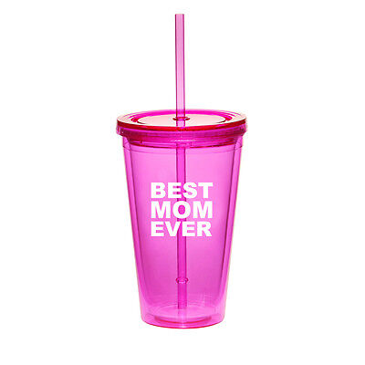 16oz Double Wall Acrylic Tumbler Pool Beach Cup With Straw Best Mom (Best Straw Cups)