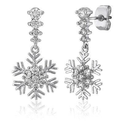 BERRICLE Sterling Silver CZ Snowflake Fashion Dangle Drop Earrings