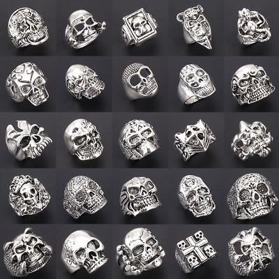 Wholesale Mixed Lot Big Skull Silver Men's Rings Fashion Jewelry Biker Punk Ring - Punk Wholesale