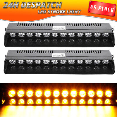 2PCS 12 LED Emergency Warning Strobe Light Bar Flash Visor Beacon Hazard AMBER