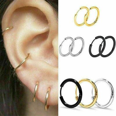 1 Pair Titanium Steel Punk Cool Round Ear Halo Hoop Earrings Women Men Hoop Round Ring