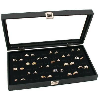 Glass Top Black Jewelry Display Case 144 Slot Ring Tray