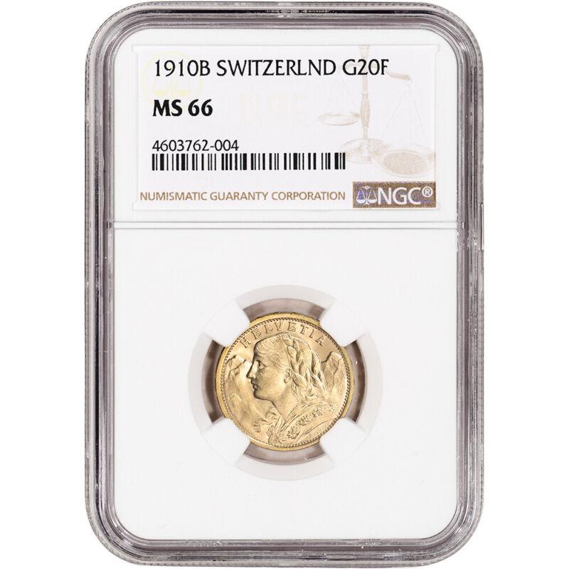 1910 B Switzerland Gold 20 Francs - NGC MS66
