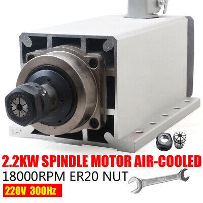 2.2kw Air Cooled Spindle Motor Er20 80mm 220v 18000 Rev Min For Cnc Router