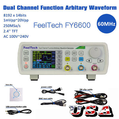 Feeltech Fy6600 15mhz 2ch Dds Function Signal Generator Kit Sinesquarepulse Us