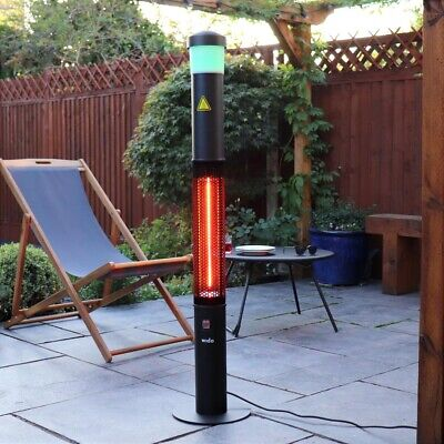ELECTRIC 3 IN 1 PATIO HEATER BLUETOOTH SPEAKER LED LIGHTS OUTDOOR GARDEN Wido