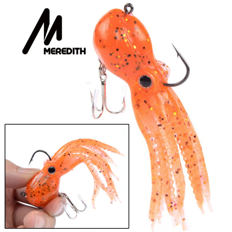 Swim Saltwater Octopus Bait hook Fishing Tackle Squid Skirt Lure Soft Silicone