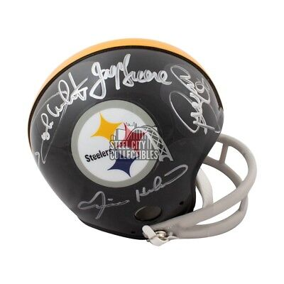 Steel Curtain Autographed Pittsburgh Steelers Throwback Mini Football Helmet -