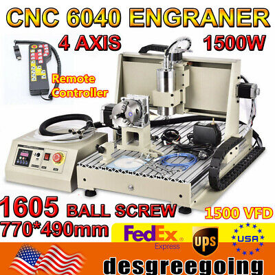 Usb 4 Axis Cnc 6040z Router 1.5kw Engraver 3d Wood Milling Machine Handwheel