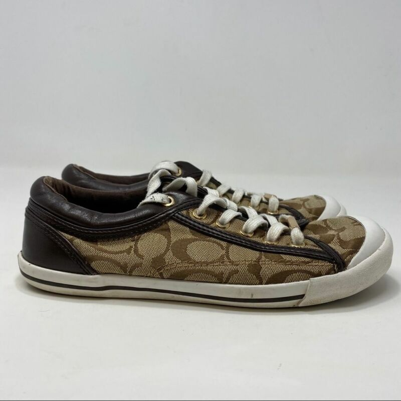 Coach Women's Brown Low Top Sneakers Size 7.5 (A131)