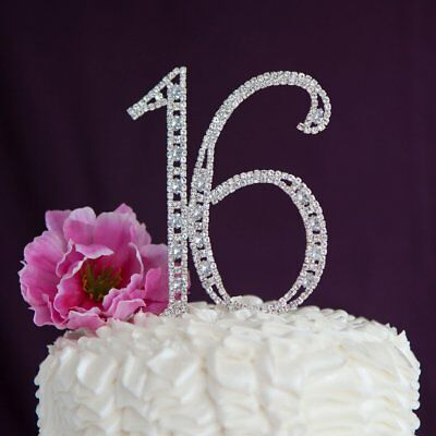 Crystal Rhinestone Silver 16 Sixteen Birthday Number Cake Topper Sweet Decor - Sweet Sixteen Cake Toppers