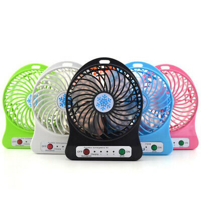 Fan Desk Clock - Portable Rechargeable LED Fan air Cooler Mini Operated Desk USB + 1200 Battery