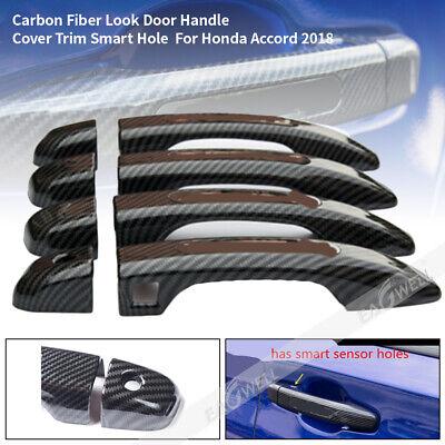 Left Hand Drive Cars (8pcs Carbon Fiber Look Door Handle Cover Trim Smart Hole For Honda Accord)